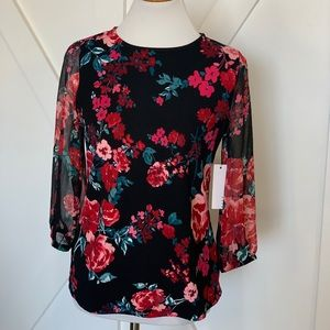 Black with pink floral top